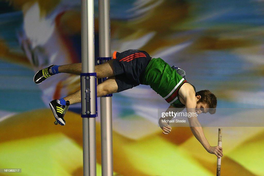 Matthew Cullen competes in the men's pole vault final during day two of the British Athletics European Trials & UK Championship at the English Institute of Sport on February 10, 2013 in Sheffield, England.