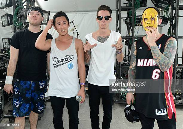 Matthew Curtis Nick Tsang Josh Friend and Tony Friend of Modestep pose at the Ultra Music Festival on March 24 2013 in Miami Florida