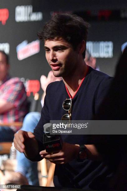 Matthew Daddario speaks at the Shadowhunter panel during 2017 New York Comic Con Day 3 on October 7 2017 in New York City