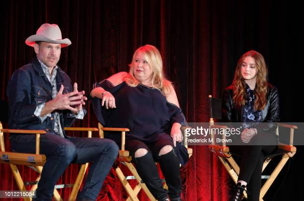 Matthew Davis Julie Plec and Danielle Rose Russell from Legacies speak onstage at the CW Network portion of the Summer 2018 TCA Press Tour at The...