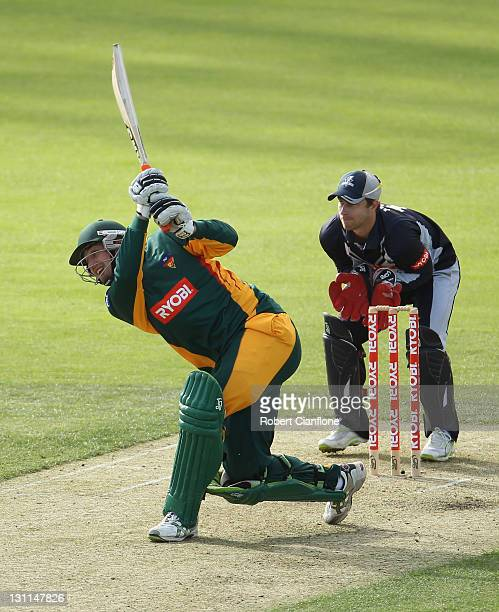 Matthew Day of the Tigers bats during the Ryobi One Day Cup match between the Tasmania Tigers and the Victoria Bushrangers at Bellerive Oval on...