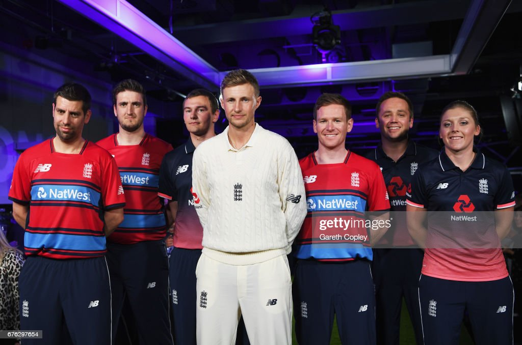 Matthew Dean, Paul Allen, Chris Edwards, Joe Root, Eoin Morgan, Ian Nairn and Heather Knight of England pose during the New Balance England Cricket Kit Launch at the New Balance store, Oxford Street on May 2, 2017 in London, England.