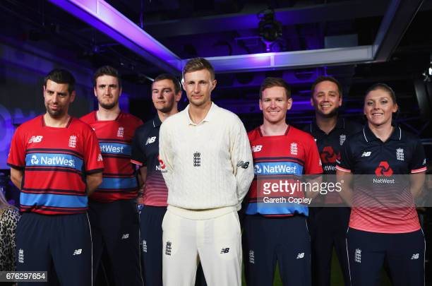 Matthew Dean Paul Allen Chris Edwards Joe Root Eoin Morgan Ian Nairn and Heather Knight of England pose during the New Balance England Cricket Kit...