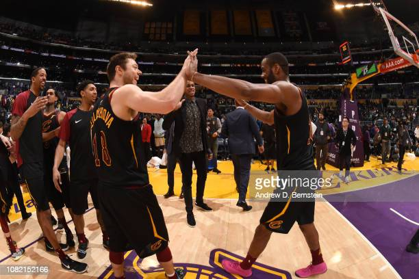 Matthew Dellavedova and Alec Burks of the Cleveland Cavaliers highfive after a game against the Los Angeles Lakers on January 13 2019 at STAPLES...