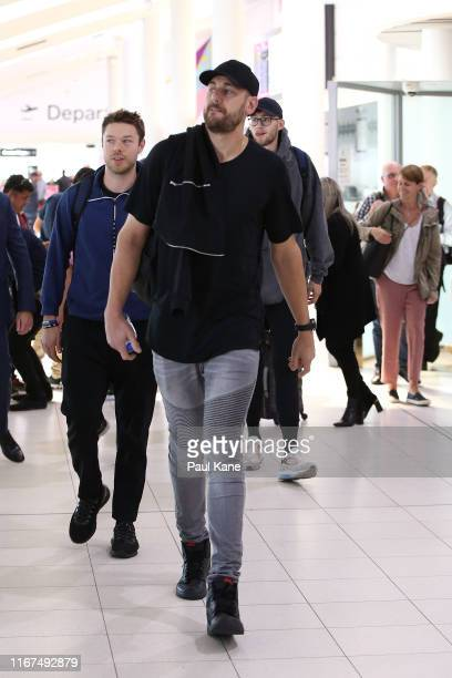 Matthew Dellavedova Andrew Bogut and Jock Landale of the Boomers arrive at Perth Airport on August 12 2019 in Perth Australia