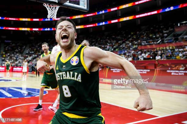 Matthew Dellavedova of Australia celebrates a point during the 2019 FIBA World Cup first round match between Canada and Australia at Dongguan...