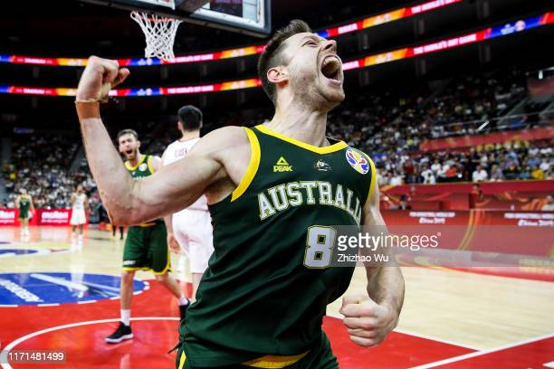 Matthew Dellavedova of Australia celebrates a point during the 2019 FIBA World Cup, first round match between Canada and Australia at Dongguan...