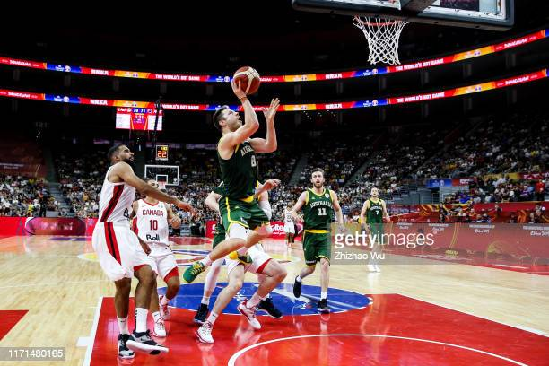 Matthew Dellavedova of Australia drives the ball during the 2019 FIBA World Cup, first round match between Canada and Australia at Dongguan...