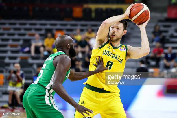 Matthew Dellavedova of Australia drives the ball during the 2019 FIBA World Cup, first round match between Australia and Senegal at Dongguan...