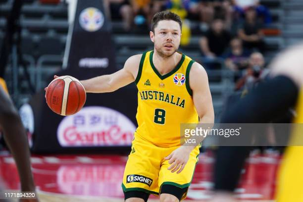 Matthew Dellavedova of Australia handles the ball during FIBA World Cup 2019 Group H match between Australia and Senegal at Dongguan Basketball...