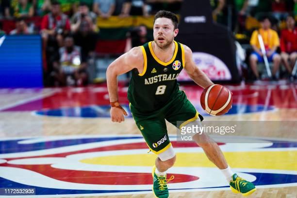 Matthew Dellavedova of Australia handles the ball during FIBA World Cup 2019 Group H match between Lithuania and Australia at Dongguan Basketball...
