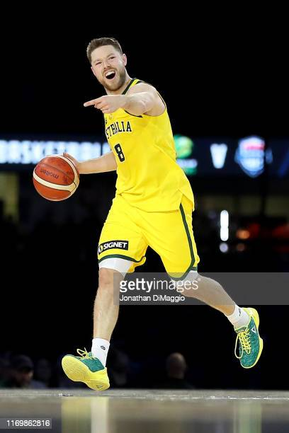 Matthew Dellavedova of Australia in action during game two of the International Basketball series between the Australian Boomers and United States of...