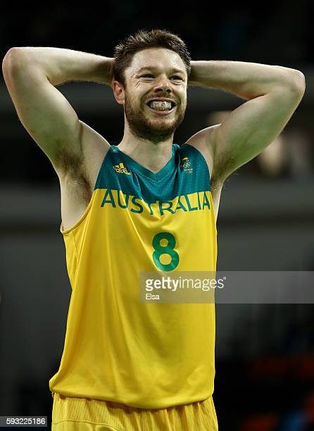Matthew Dellavedova of Australia reacts during the Men's Basketball Bronze medal game between Australia and Spain on Day 16 of the Rio 2016 Olympic...