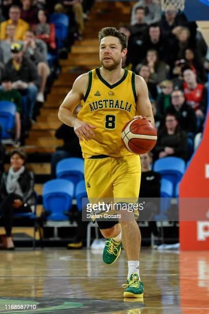Matthew Dellavedova of Australia runs the ball during the International Basketball friendly match between the Australian Boomers and Canada at RAC...