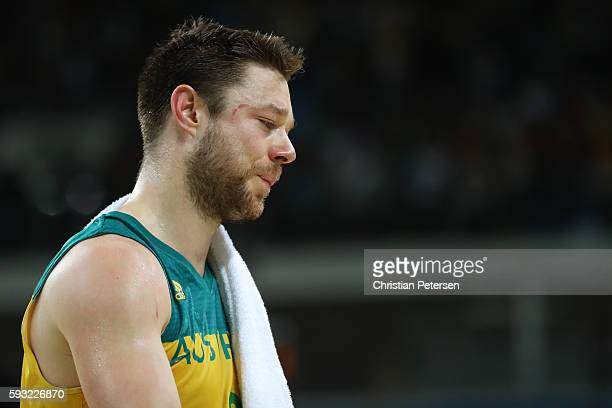 Matthew Dellavedova of Australia shows his emotion after losing the Men's Basketball Bronze medal game between Australia and Spain on Day 16 of the...