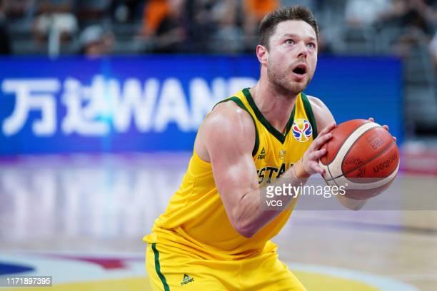 Matthew Dellavedova of Australia takes a penalty shot during FIBA World Cup 2019 Group H match between Australia and Senegal at Dongguan Basketball...