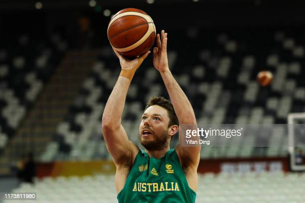 Matthew Dellavedova of Australia warms up prior to the quarter final match between Australia and Czech Republic of 2019 FIBA World Cup at Shanghai...