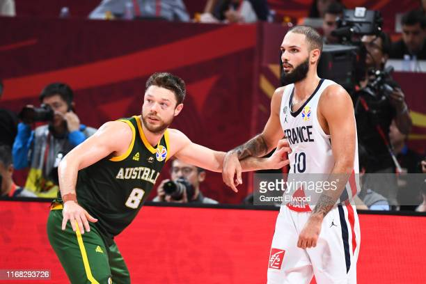 Matthew Dellavedova of Team Australia defends against Evan Fournier of Team France during the 2019 FIBA World Cup Third Place Game at the Cadillac...