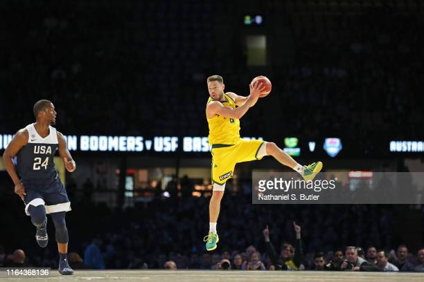 Matthew Dellavedova of the Australia Boomers handles the ball against USA on August 24, 2019 at Marvel Stadium in Melbourne, Australia. NOTE TO USER:...