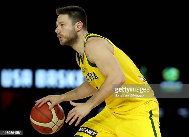 Matthew Dellavedova of the Boomers in action during game two of the International Basketball series between the Australian Boomers and United States...
