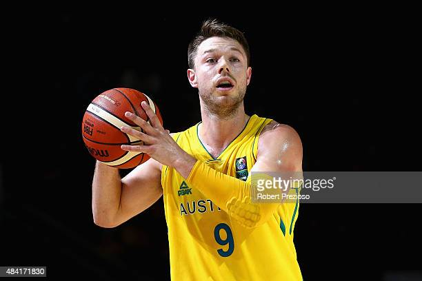 Matthew Dellavedova of the Boomers looks to make a pass during the game one match between the Australian Boomers and New Zealand Tall Blacks at Rod...