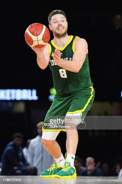 Matthew Dellavedova of the Boomers passes the ball during the International Basketball Friendly match between the Australian Boomers and Team USA...