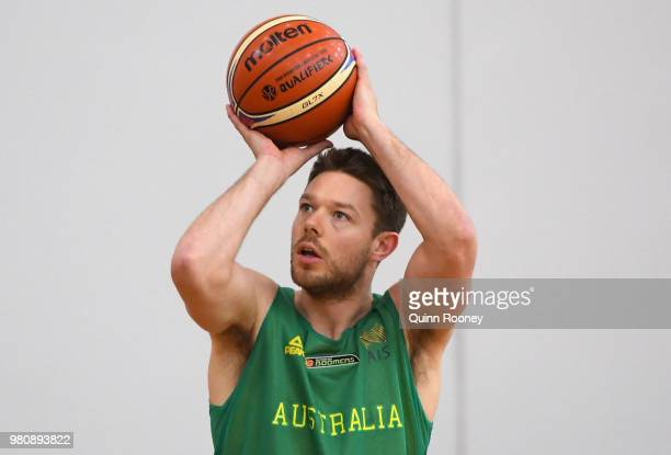 Matthew Dellavedova of the Boomers shoots during an Australian Boomers training session at Melbourne Sports and Aquatic Centre on June 22 2018 in...