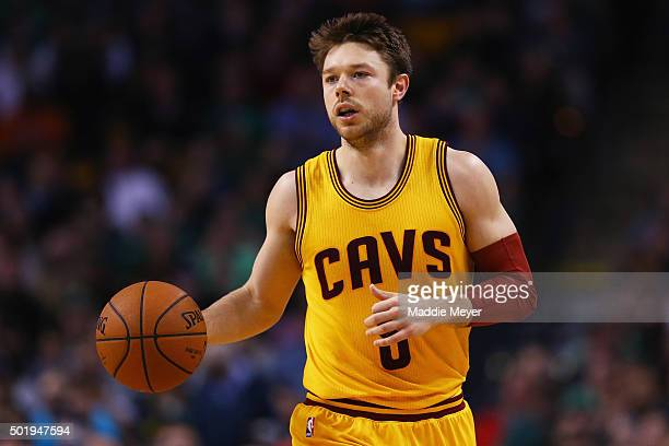 Matthew Dellavedova of the Cleveland Cavaliers carries the ball against the Boston Celtics during the second quarter at TD Garden on December 15 2015...