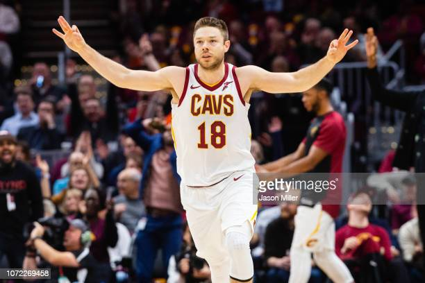 Matthew Dellavedova of the Cleveland Cavaliers celebrates after scoring during the first half against the New York Knicks at Quicken Loans Arena on...