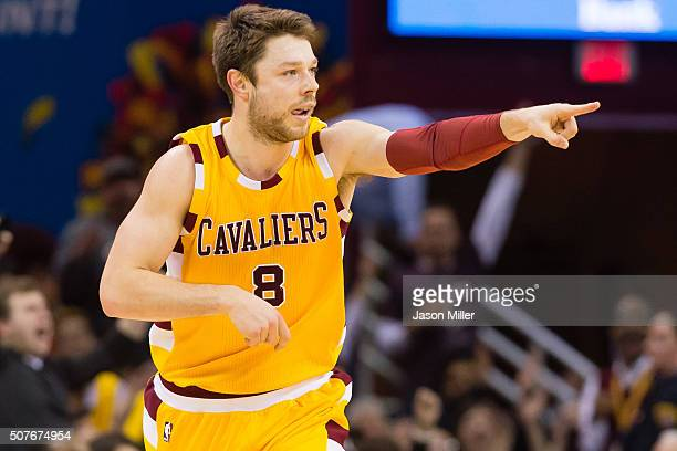 Matthew Dellavedova of the Cleveland Cavaliers celebrates after scoring during the second half against the San Antonio Spurs at Quicken Loans Arena...