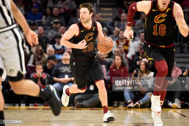 Matthew Dellavedova of the Cleveland Cavaliers drives down court during the second half against the San Antonio Spurs at Rocket Mortgage Fieldhouse...
