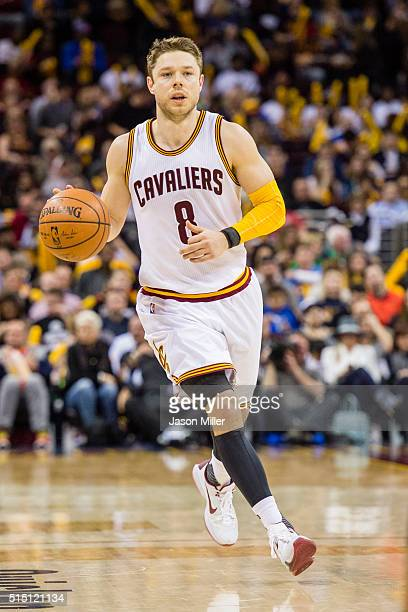 Matthew Dellavedova of the Cleveland Cavaliers drives during the second half against the Memphis Grizzlies at Quicken Loans Arena on March 7 2016 in...