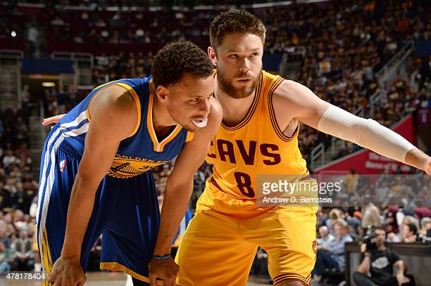 Matthew Dellavedova of the Cleveland Cavaliers gaurds Stephen Curry of the Golden State Warriors during Game Four of the 2015 NBA Finals at The...