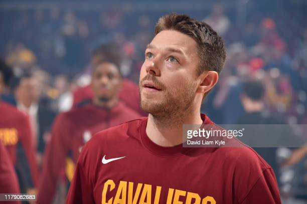 Matthew Dellavedova of the Cleveland Cavaliers looks on against the Chicago Bulls on October 30, 2019 at Rocket Mortgage FieldHouse in Cleveland,...
