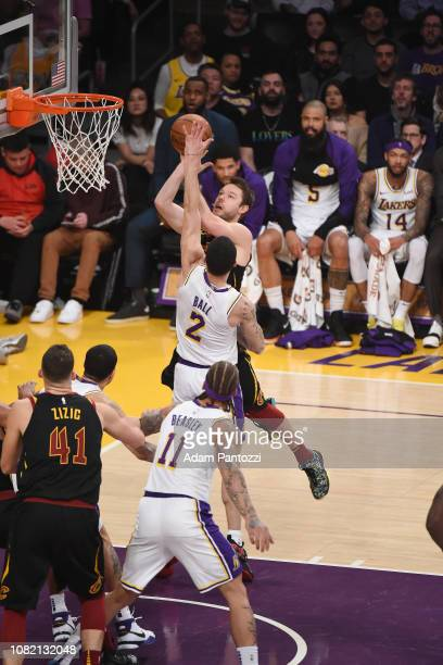 Matthew Dellavedova of the Cleveland Cavaliers shoots the ball against the Los Angeles Lakers on January 13 2019 at STAPLES Center in Los Angeles...