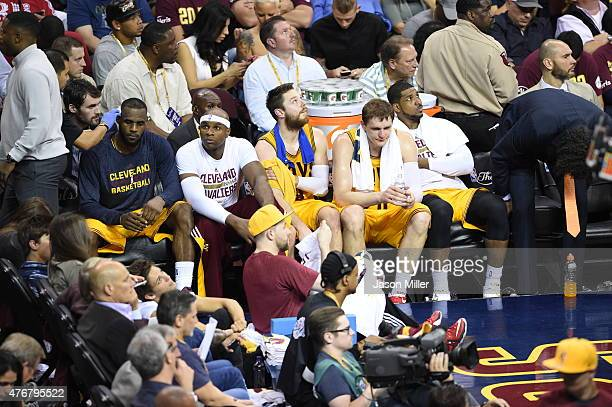 Matthew Dellavedova of the Cleveland Cavaliers sits on the bench during Game Four of the 2015 NBA Finals against the Golden State Warriors at Quicken...