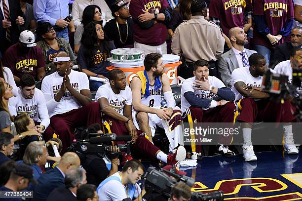 Matthew Dellavedova of the Cleveland Cavaliers sits on the bench during Game Six of the 2015 NBA Finals against the Golden State Warriors at Quicken...