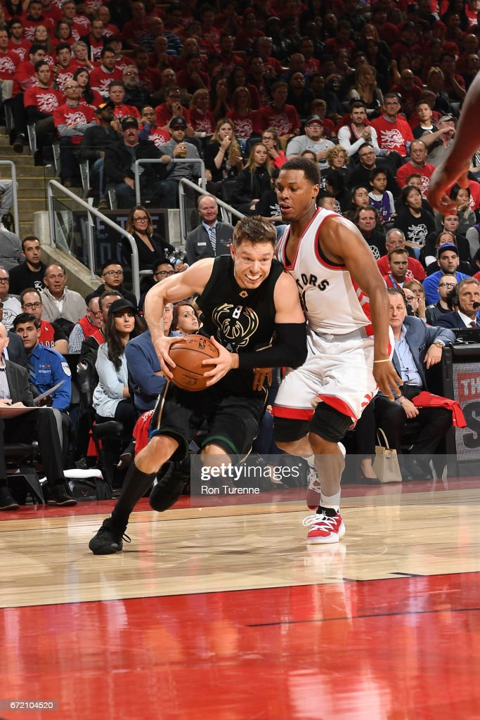Matthew Dellavedova #8 of the Milwaukee Bucks drives to the basket against the Toronto Raptors in Round One of the Eastern Conference Playoffs during the 2017 NBA Playoffs on April 15, 2017 at the Air Canada Centre in Toronto, Ontario, Canada.