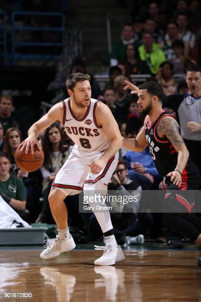 Matthew Dellavedova of the Milwaukee Bucks handles the ball against the Toronto Raptors on January 5 2018 at the BMO Harris Bradley Center in...