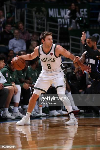 Matthew Dellavedova of the Milwaukee Bucks handles the ball against the Orlando Magic on January 10 2018 at the BMO Harris Bradley Center in...