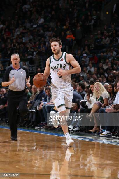 Matthew Dellavedova of the Milwaukee Bucks handles the ball against the Miami Heat on January 17 2018 at the BMO Harris Bradley Center in Milwaukee...