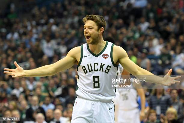 Matthew Dellavedova of the Milwaukee Bucks reacts to an officials call during the first quarter of a game against the Cleveland Cavaliers at the...