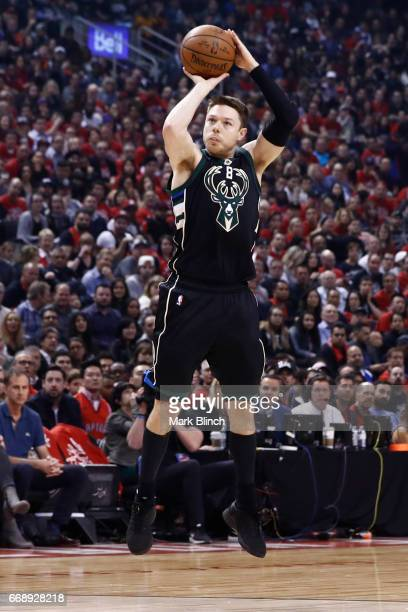 Matthew Dellavedova of the Milwaukee Bucks shoots the ball against the Toronto Raptors on April 15 2017 during Game One of Round One of the 2017 NBA...