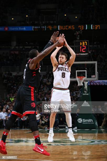 Matthew Dellavedova of the Milwaukee Bucks shoots the ball against the Toronto Raptors on January 5 2018 at the BMO Harris Bradley Center in...