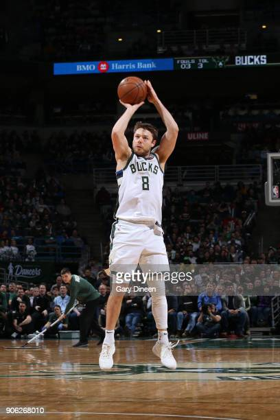Matthew Dellavedova of the Milwaukee Bucks shoots the ball against the Miami Heat on January 17 2018 at the BMO Harris Bradley Center in Milwaukee...