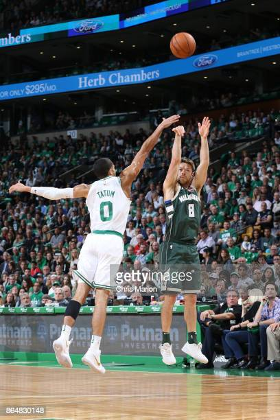 Matthew Dellavedova of the Milwaukee Bucks shoots the ball during the game against the Boston Celtics on October 18 2017 at the TD Garden in Boston...