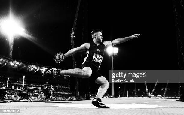 Matthew Denny competes in the Men's discus event during the Australian Athletics Championships Nomination Trials at Carrara Stadium on February 16...