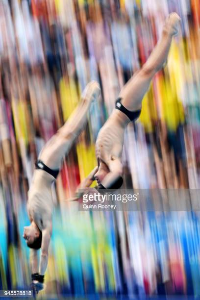 Matthew Dixon and Noah Williams of England compete in the Men's Synchronised 10m Platform Diving Final on day nine of the Gold Coast 2018...