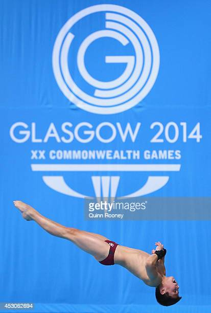 Matthew Dixon of England competes in the Men's 10m Platform Preliminaries at Royal Commonwealth Pool during day ten of the Glasgow 2014 Commonwealth...