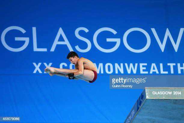 Matthew Dixon of England competes in the Men's 10m Platform Final at Royal Commonwealth Pool during day ten of the Glasgow 2014 Commonwealth Games on...